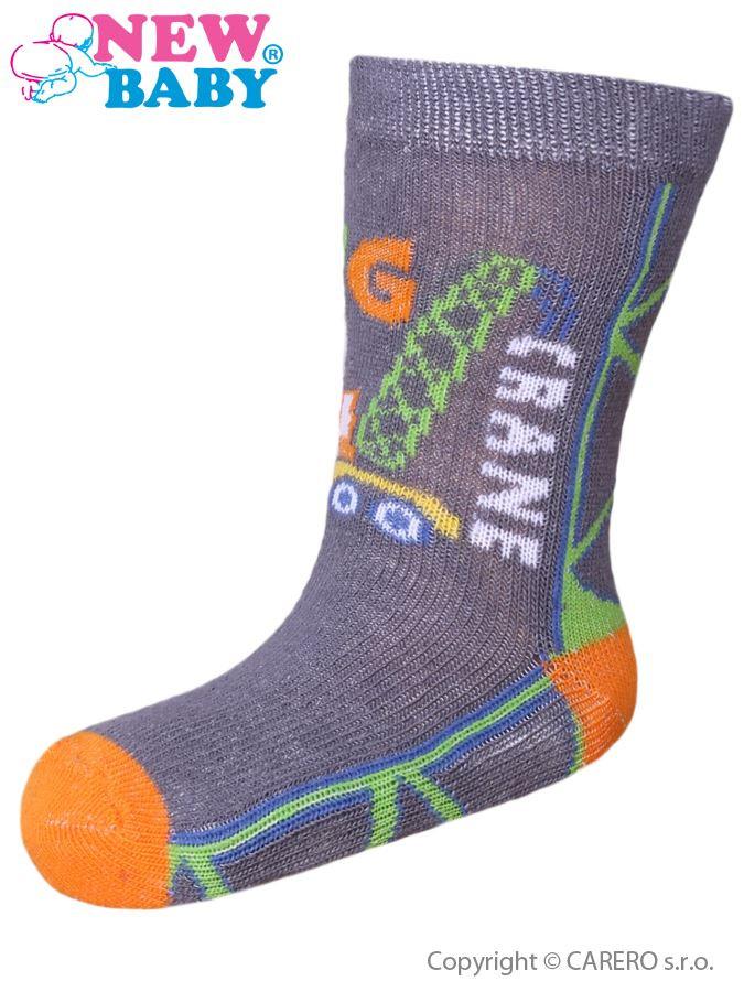Dětské ponožky New Baby s ABS šedé big crane  d2d37bc376