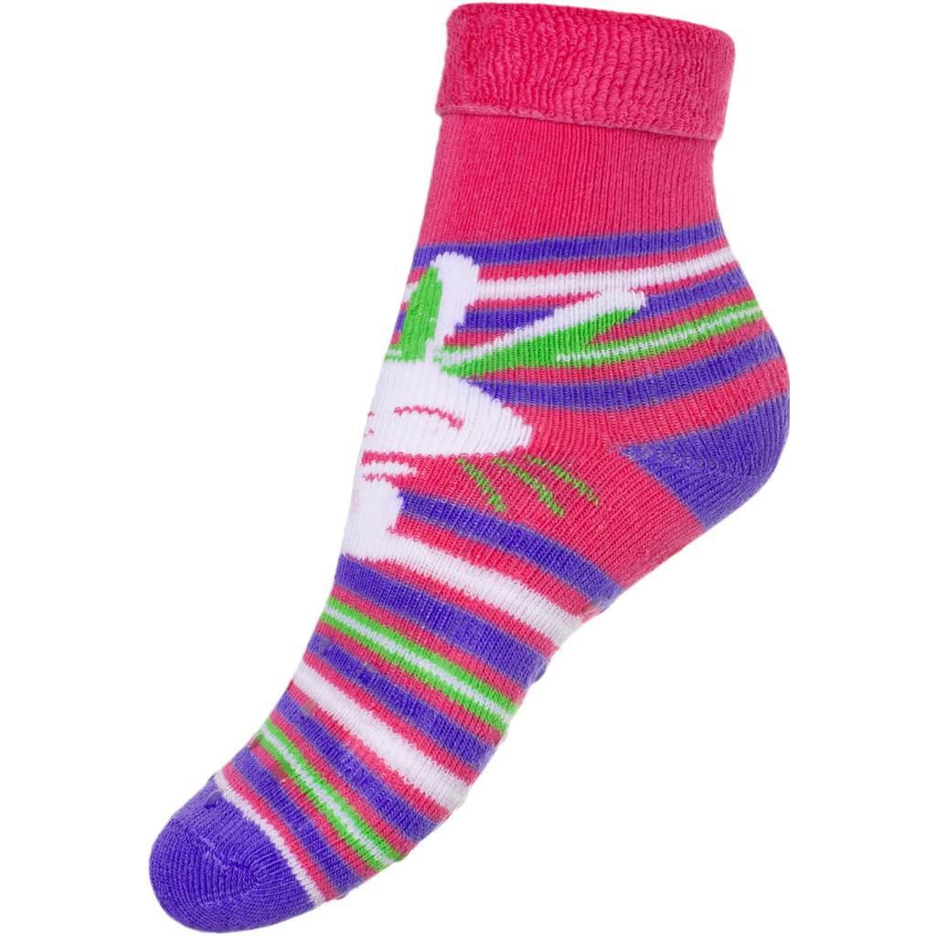 6de27eff640 Dětské froté ponožky New Baby s ABS růžové s zajíčkem