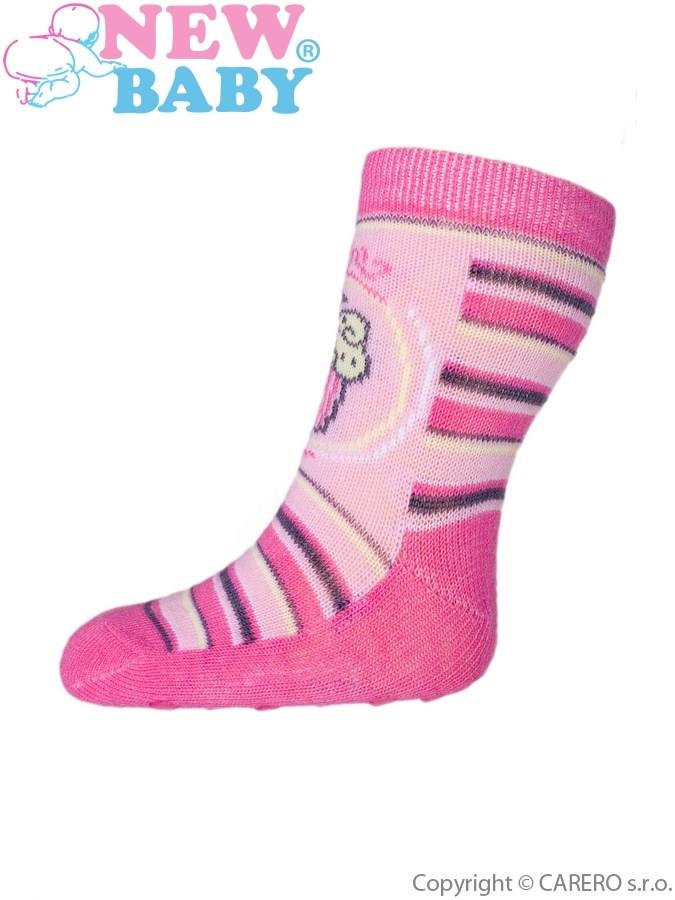 6537e149ccb Kojenecké ponožky New Baby s ABS růžové s proužky a dortem