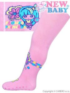 Bavlněné punčocháčky New Baby s ABS světle růžové flower princess 1325c1da2a